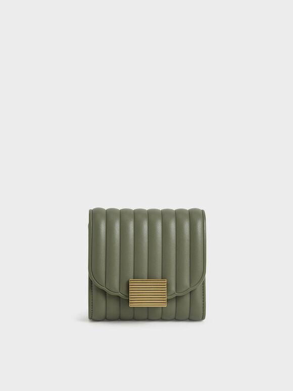 Panelled Short Wallet, Olive, hi-res