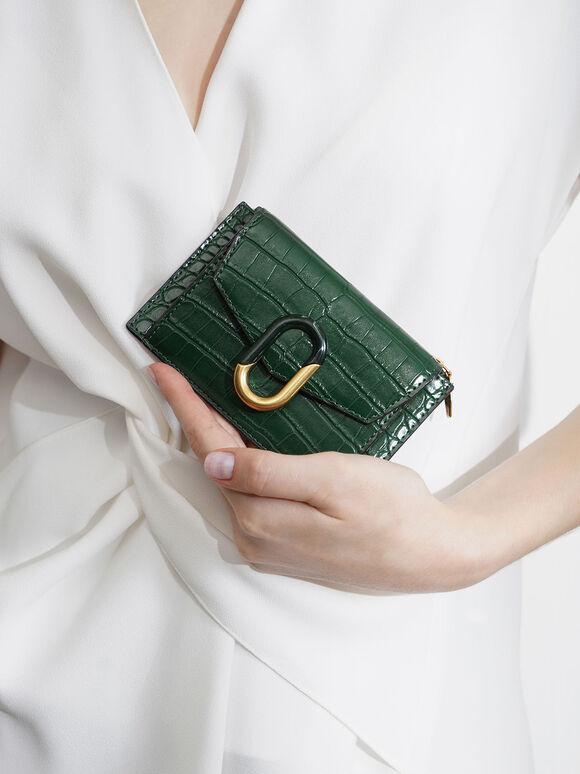Croc-Effect Stone-Embellished Card Holder, Green, hi-res