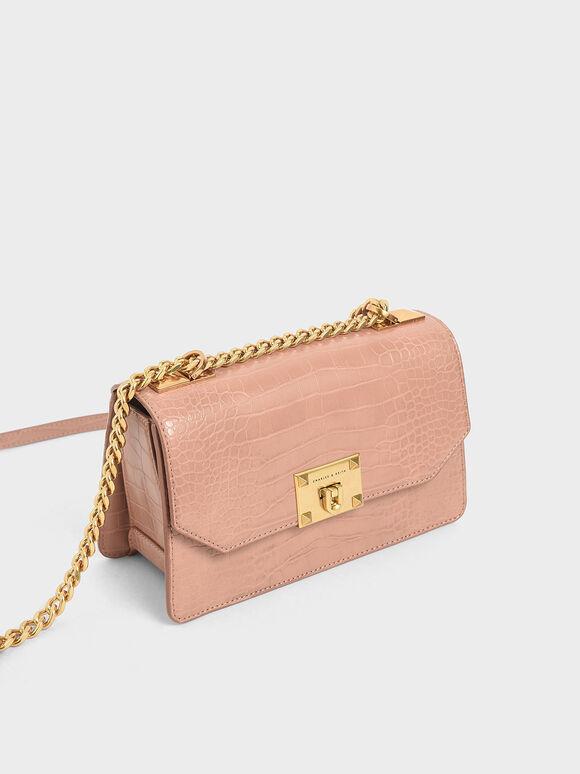 Croc-Effect Chain Strap Crossbody Bag, Blush, hi-res