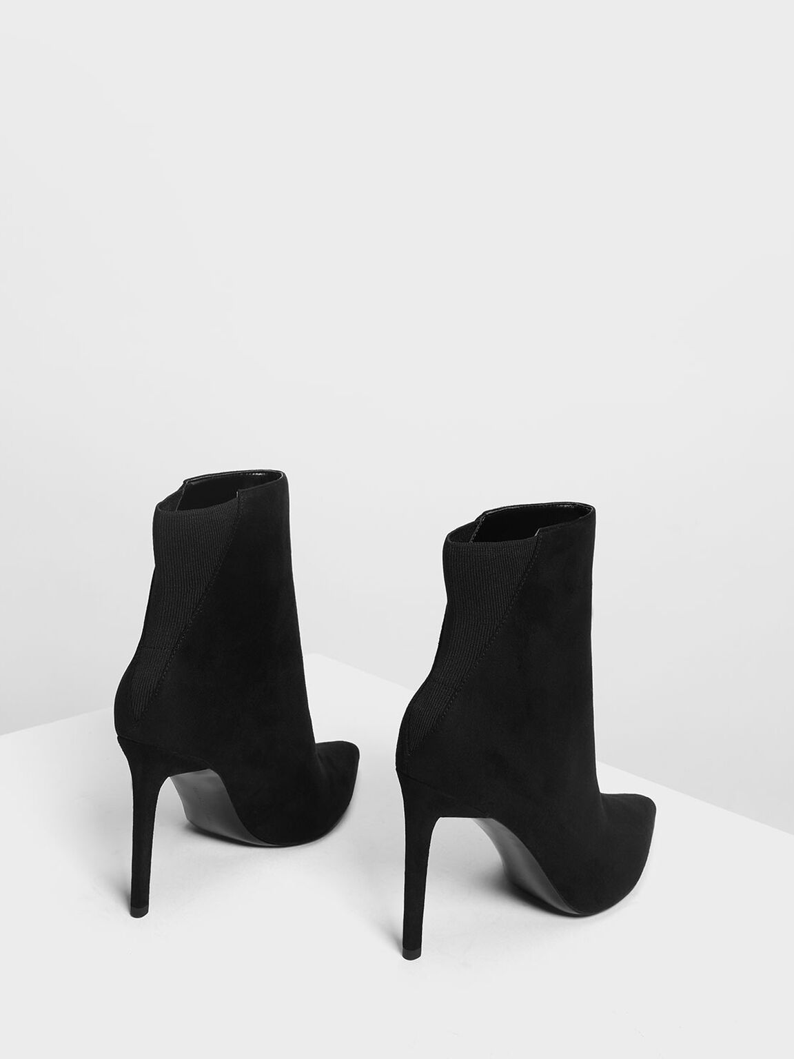 Pointed Stiletto Calf Boots, Black, hi-res