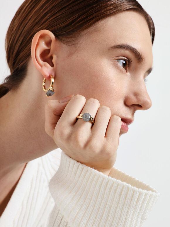 Labradorite Stone Huggie Hoop Earrings, Gold, hi-res