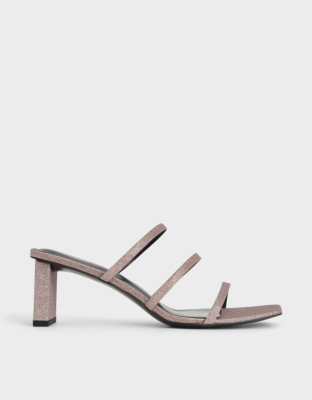 Pink Glitter Strappy Blade Heel Mules