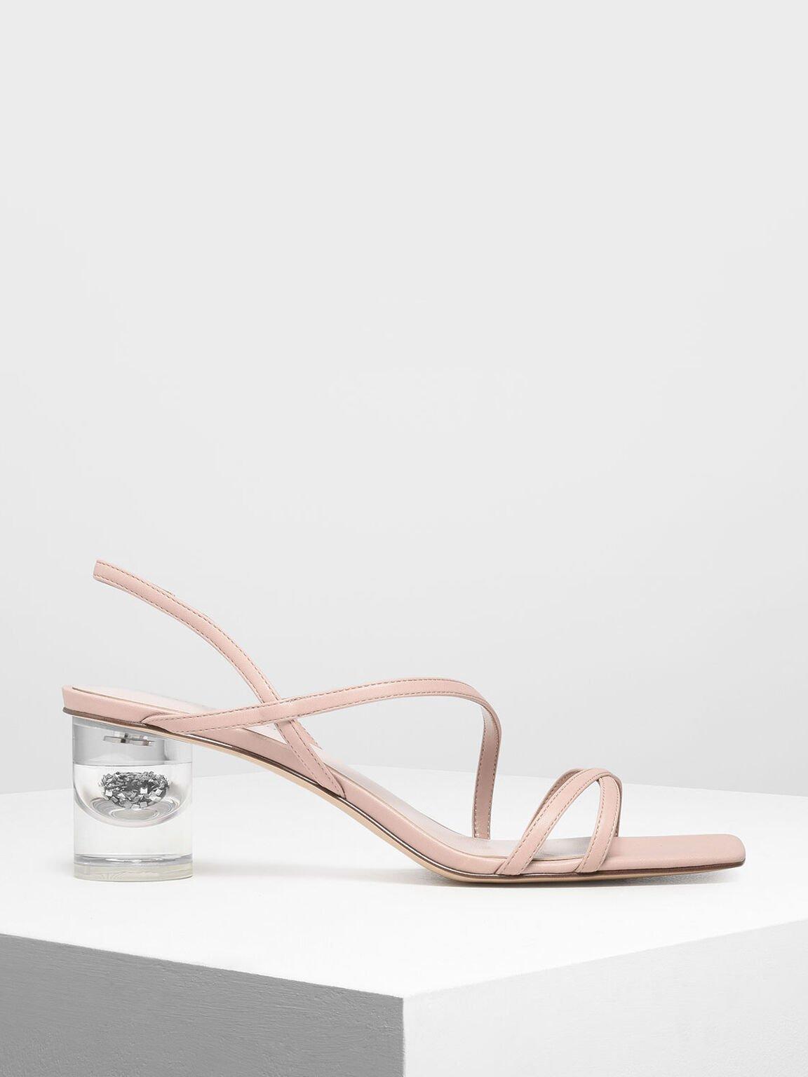 Asymmetric Strap Lucite Heel Sandals, Nude, hi-res