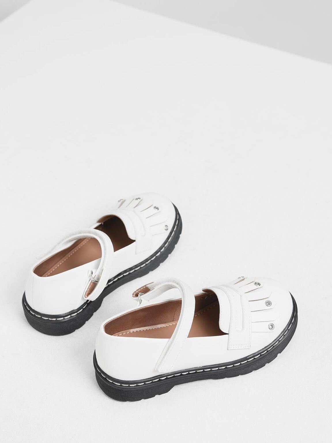 Kids' Fringe Loafers, White, hi-res