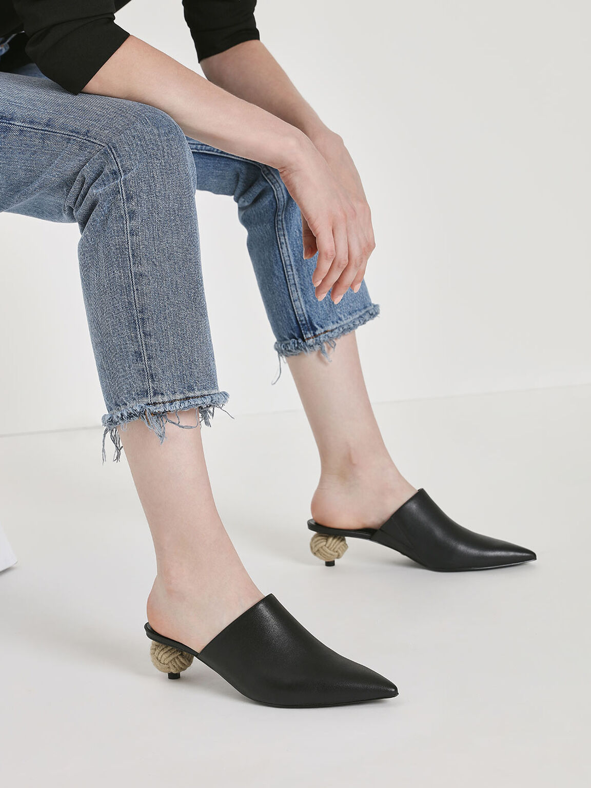 Spherical Heel Leather Mules, Black, hi-res