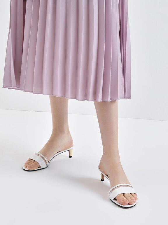 Clear Strap Kitten Heel Slide Sandals, White, hi-res