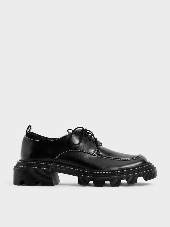 多層次厚底德比鞋, 黑色, hi-res