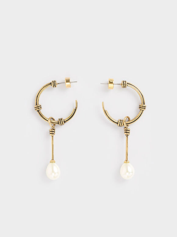 Circular Pearl Drop Earrings, Gold, hi-res