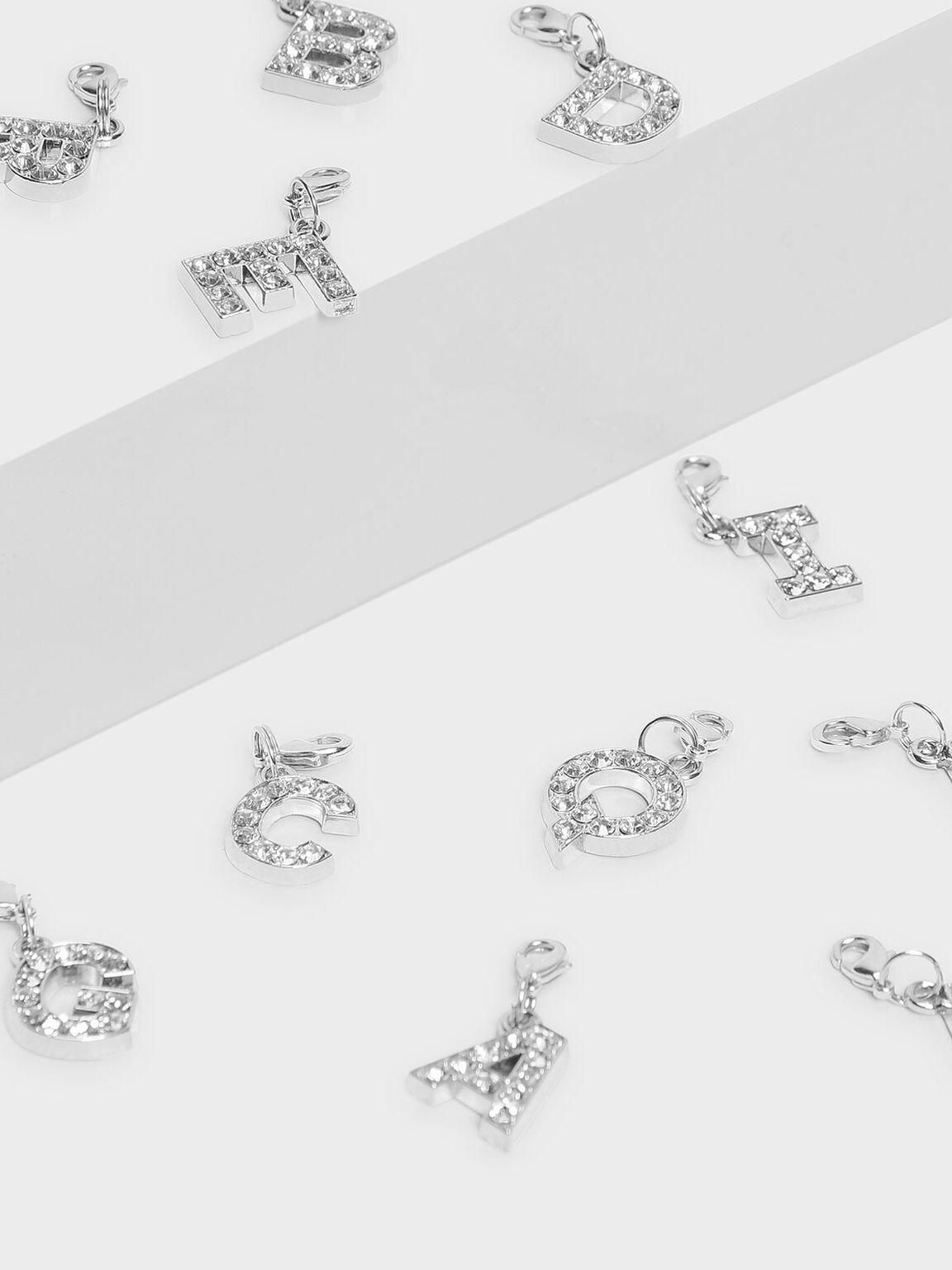 Crystal Embellished Alphabet Charm - U, Silver, hi-res