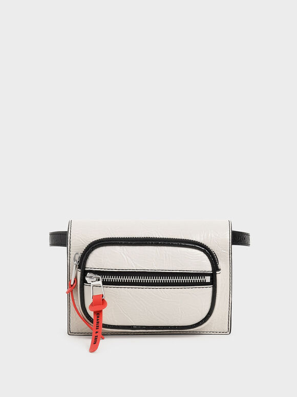 Wrinkled Effect Mini Rectangle Crossbody Bag, Cream, hi-res