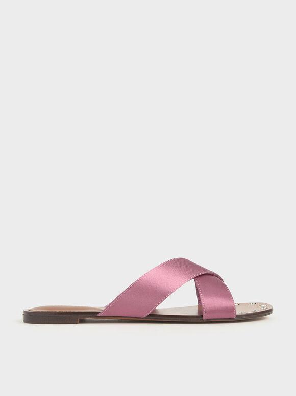 Satin Embellished-Sole Slide Sandals, Pink, hi-res
