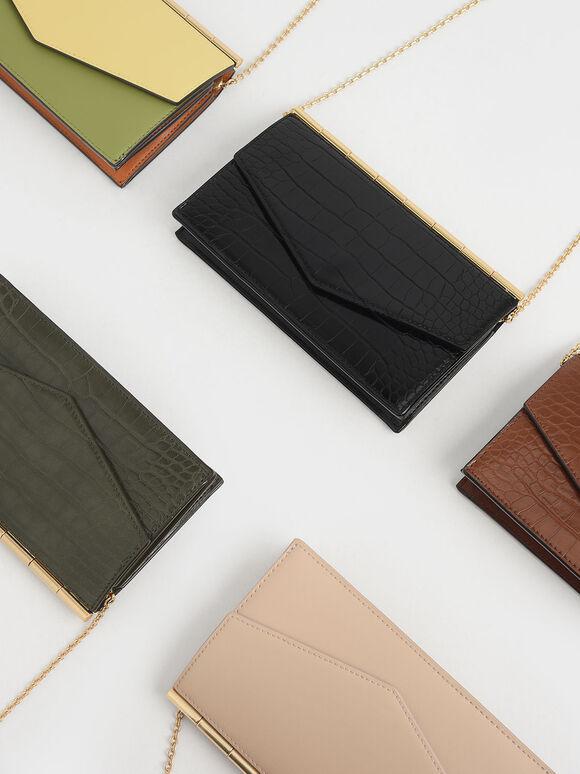 Mini Croc-Effect Long Envelope Wallet, Black, hi-res