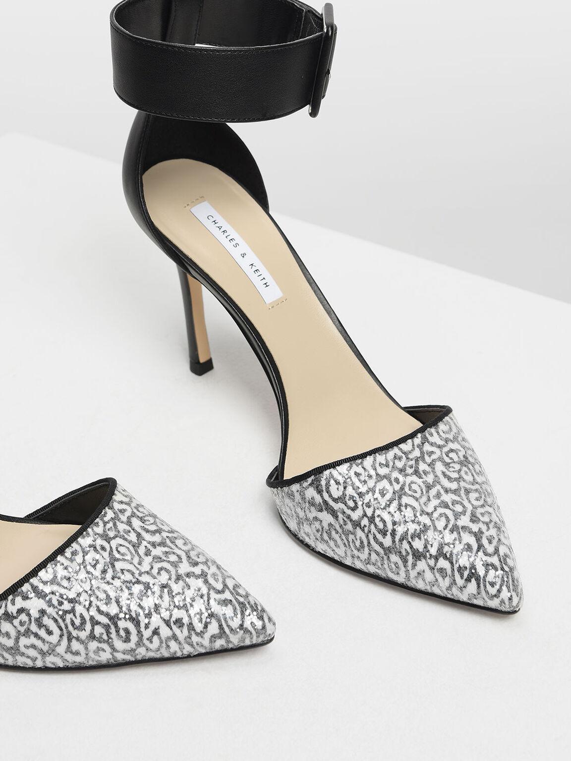 Glitter Fabric Ankle Cuff Heels, Black, hi-res