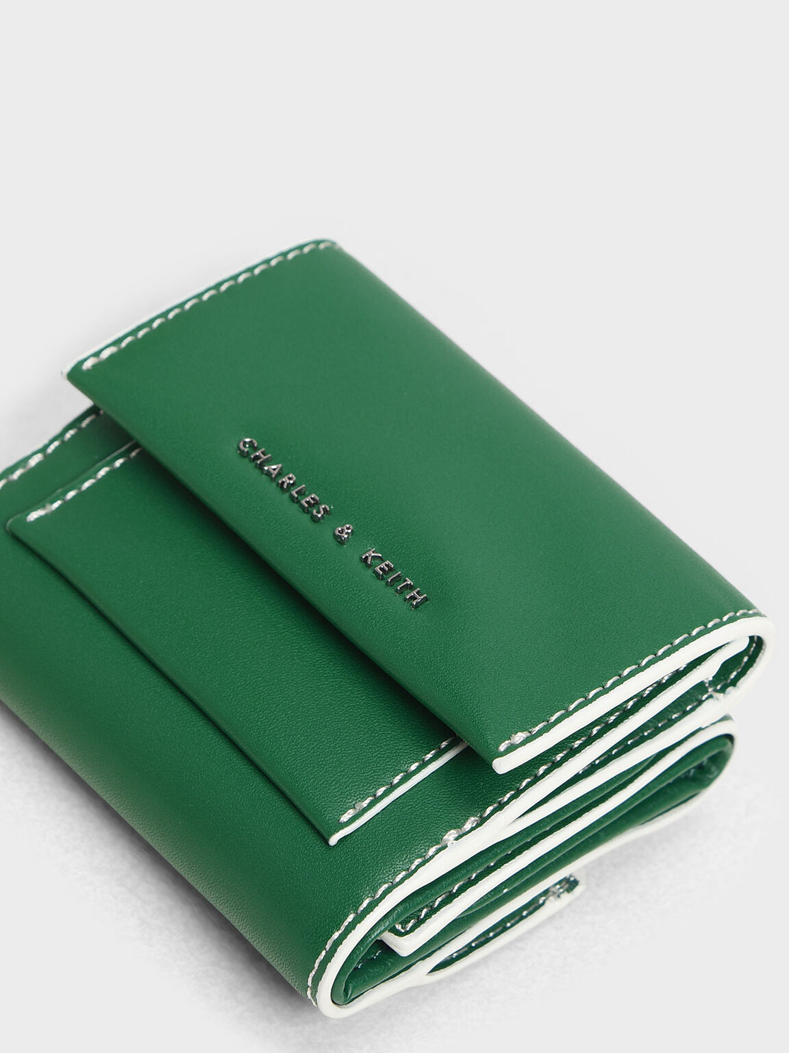 Stitch Detail Front Flap Short Wallet, Green, hi-res