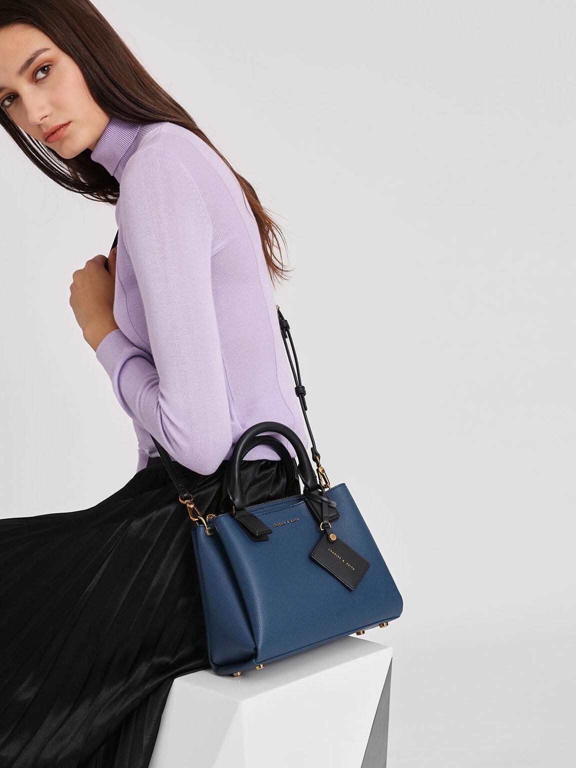 Top Handle Structured Bag, Blue, hi-res
