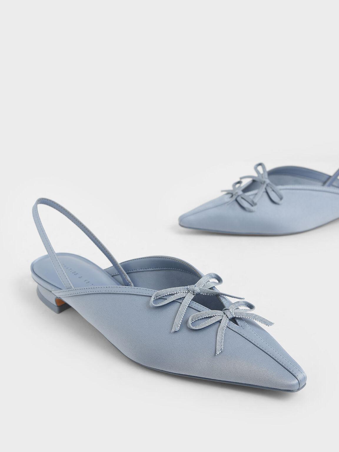 Satin Double Bow Slingback Flats, Light Blue, hi-res
