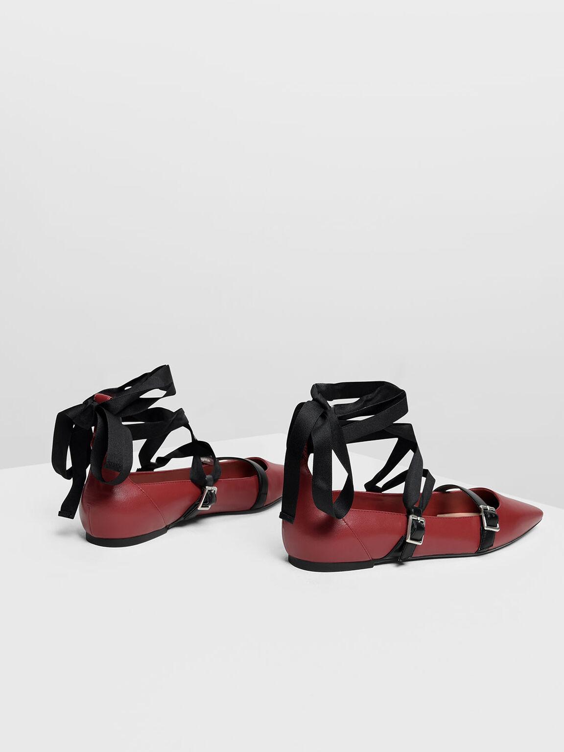 Ribbon Tie Ballerinas, Red, hi-res