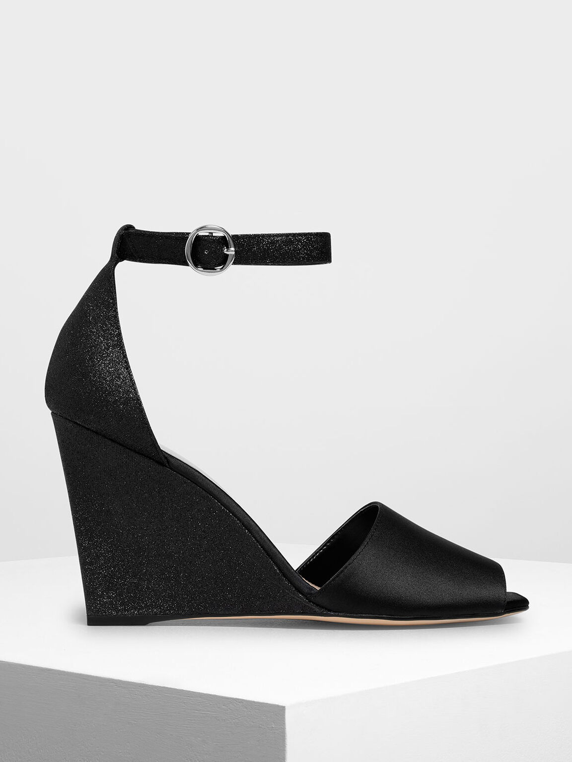 Glitter Peep Toe Wedges, Black, hi-res
