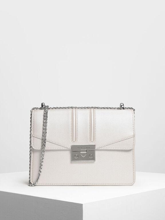 Push Lock Front Flap Bag, Pearl, hi-res
