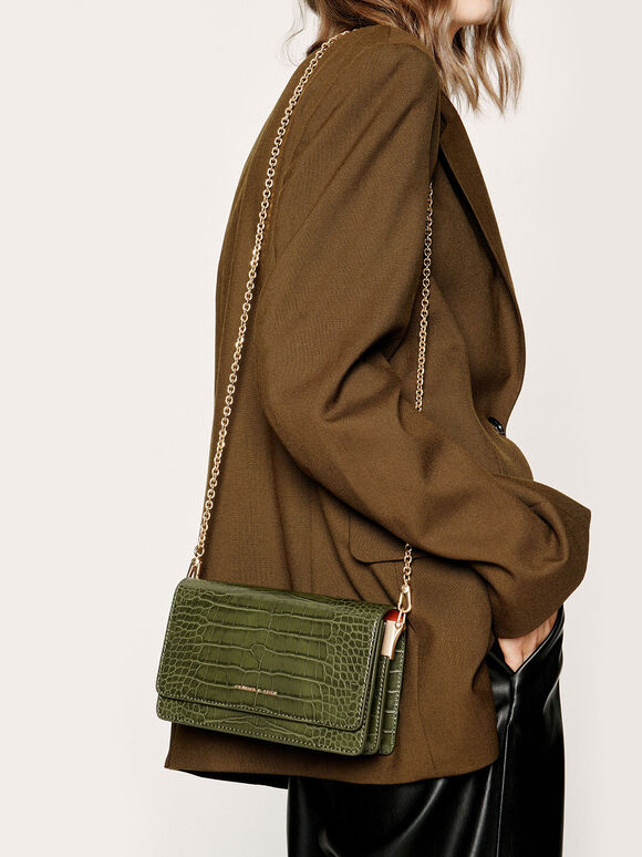 Croc-Effect Clutch, Olive, hi-res