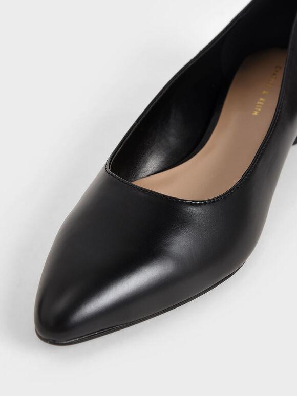 Textured Ballerina Flats, Black, hi-res