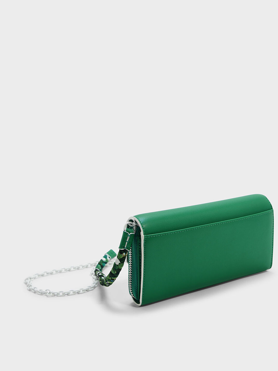 Scarf Detail Chain Strap Wallet, Green, hi-res