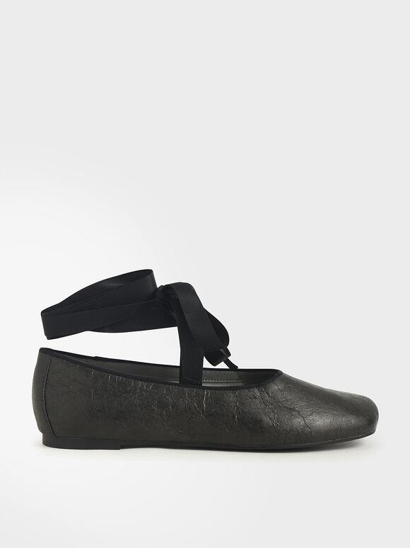皺褶感綁帶平底鞋, 黑色, hi-res
