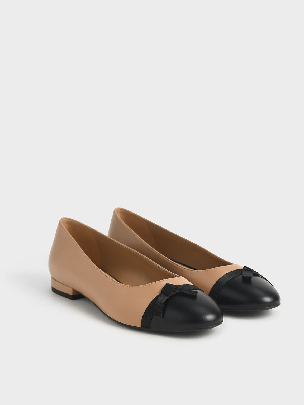 Two-Tone Ribbon Tie Ballet Pumps, Nude, hi-res