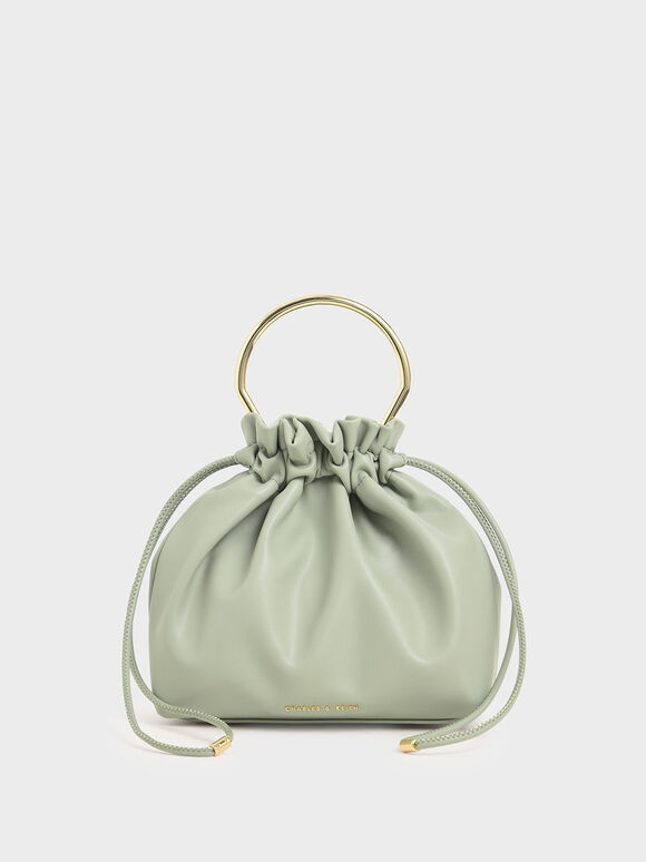 Mini Sculptural Top Handle Drawstring Bucket Bag, Green, hi-res