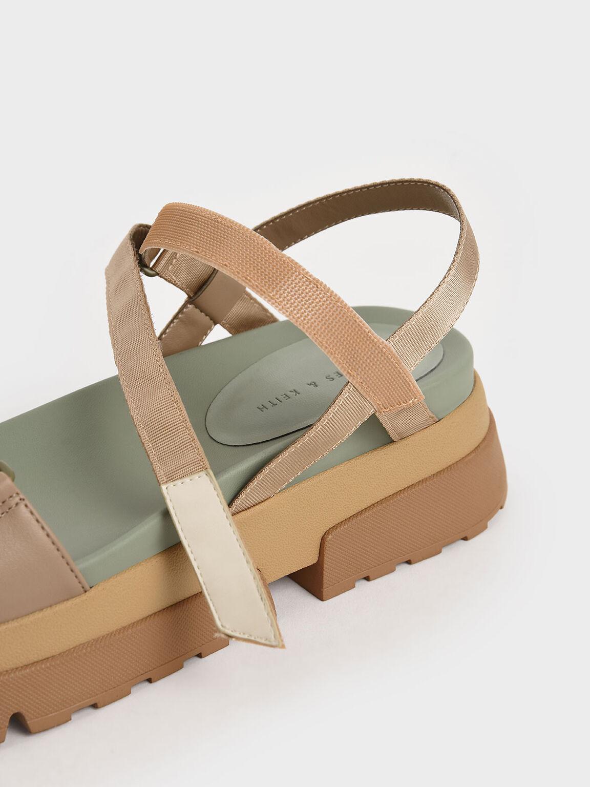 Mesh & Grosgrain Flatform Sandals, Nude, hi-res