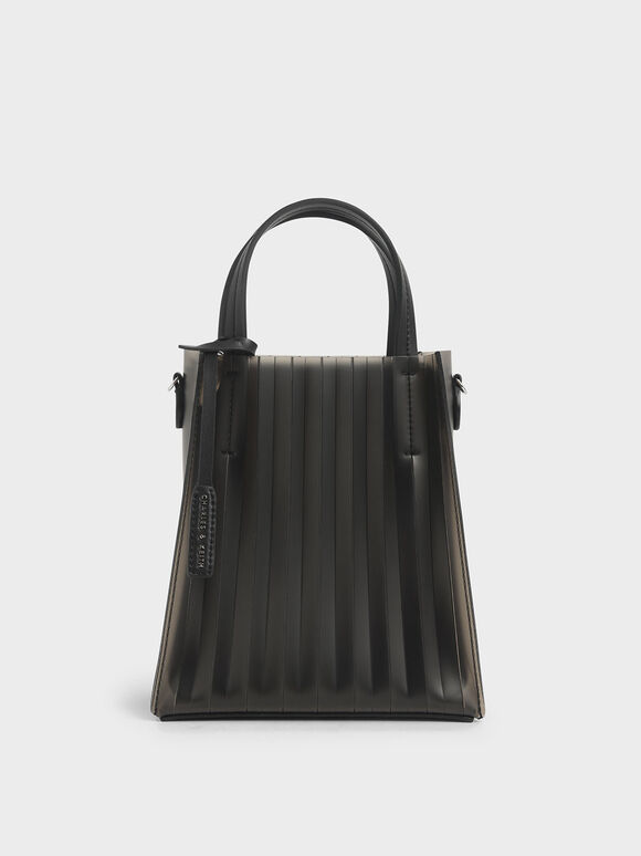 Translucent Pleated Tote Bag, Black, hi-res