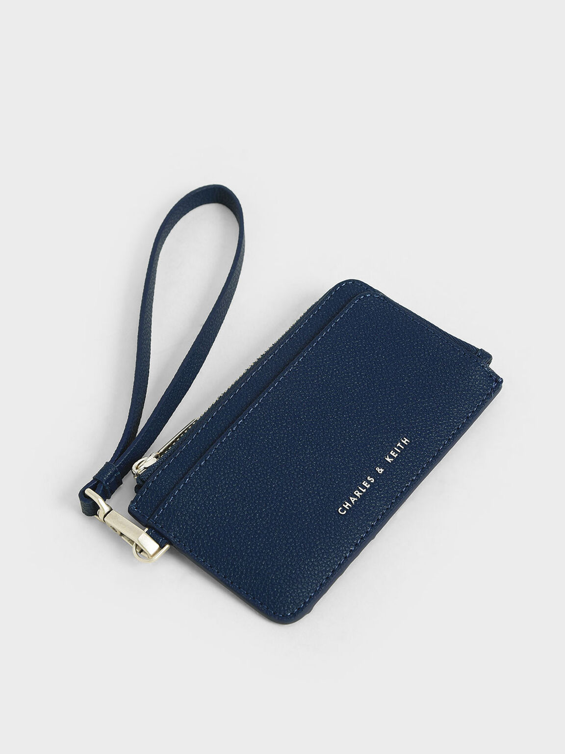 Top Zip Card Holder, Blue, hi-res