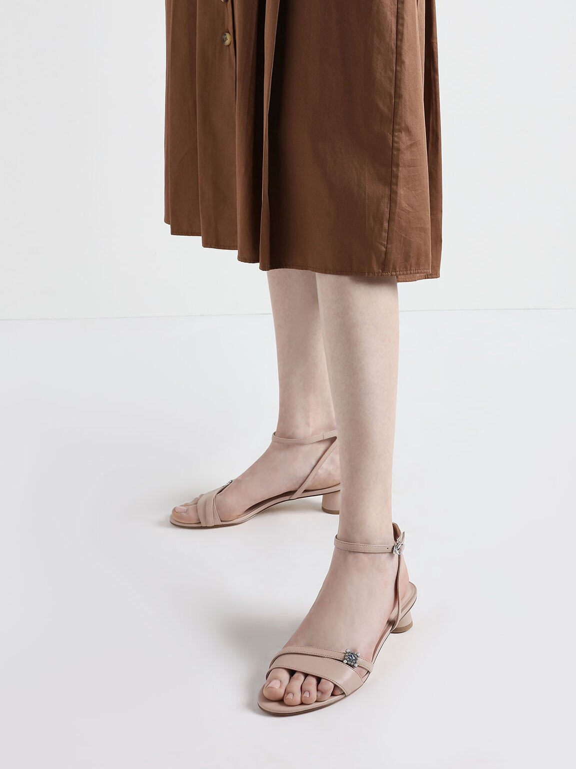 Gem Embellished Cylindrical Heel Sandals, Nude, hi-res