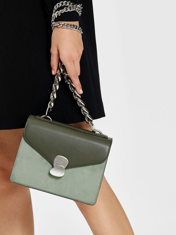 Metal Detail Front Flap Bag, Sage Green