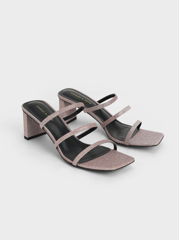 Glitter Strappy Blade Heel Mules, Pink, hi-res