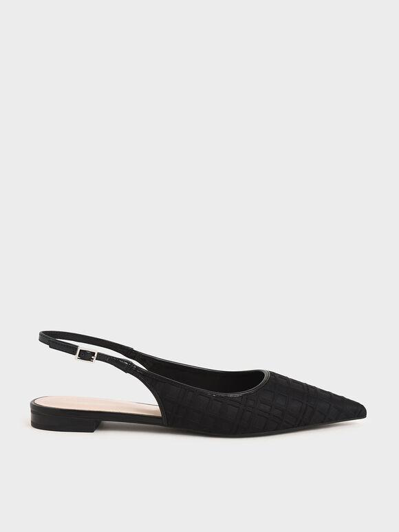 Printed Slingback Ballerina Flats, Black, hi-res