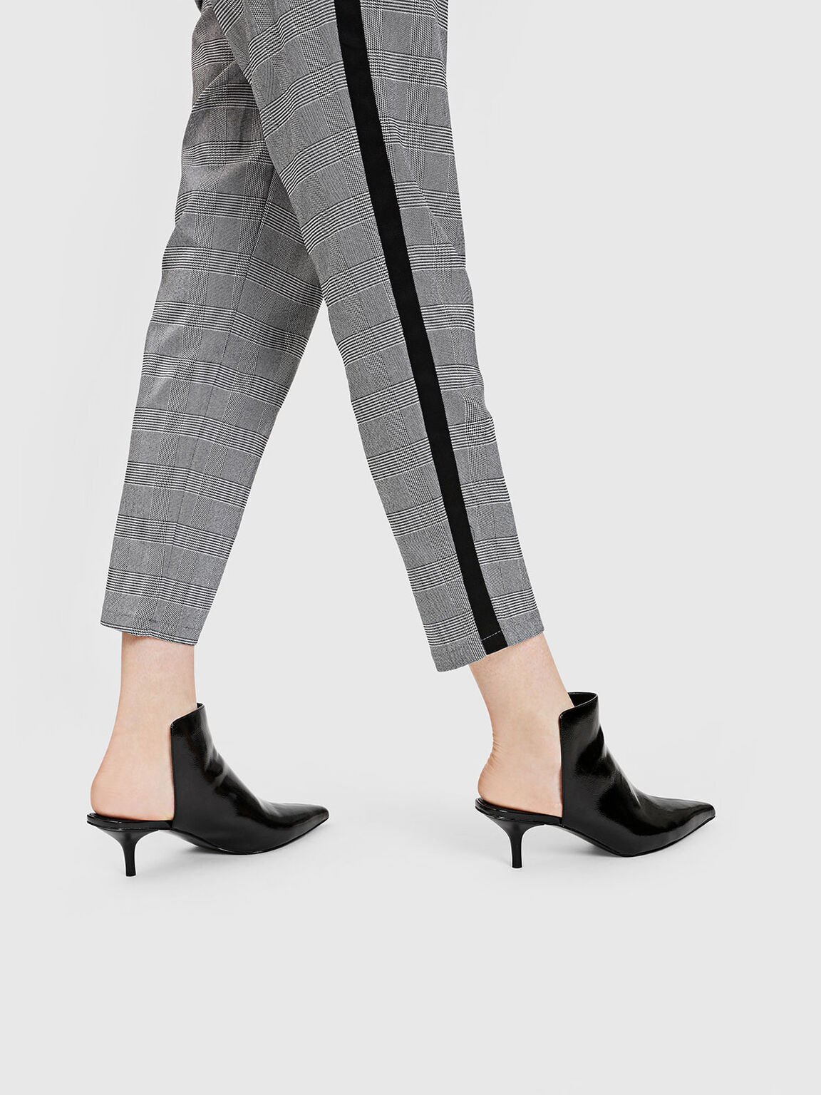 Patent Pointed Mules, Black, hi-res