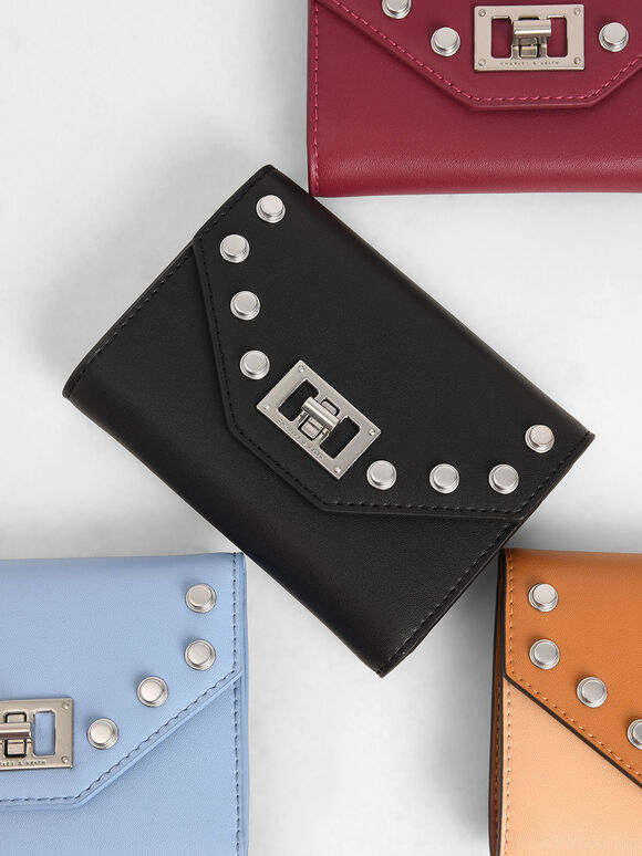 Studded Small Wallet, Black, hi-res