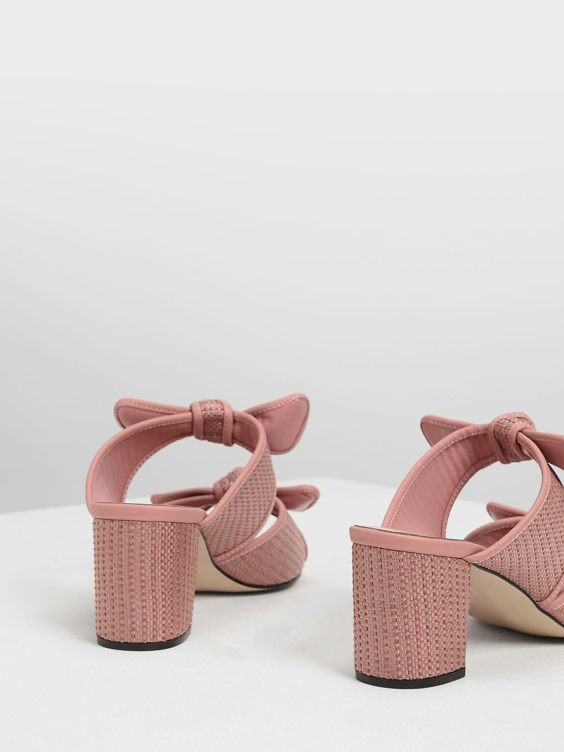 Double Bow Raffia Heeled Slide Sandals, Blush, hi-res