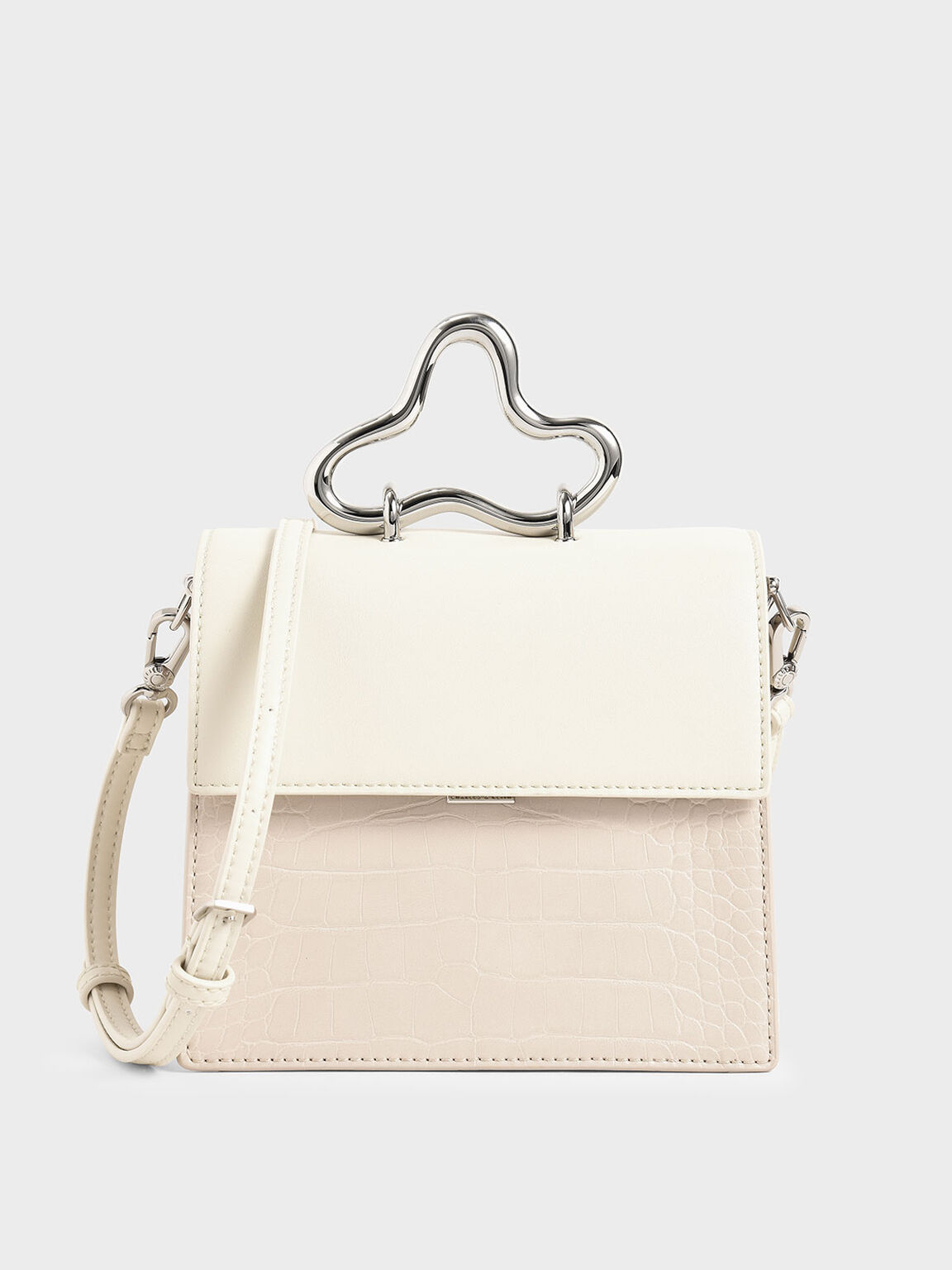 Croc-Effect Sculptural Metal Handle Bag, Cream, hi-res