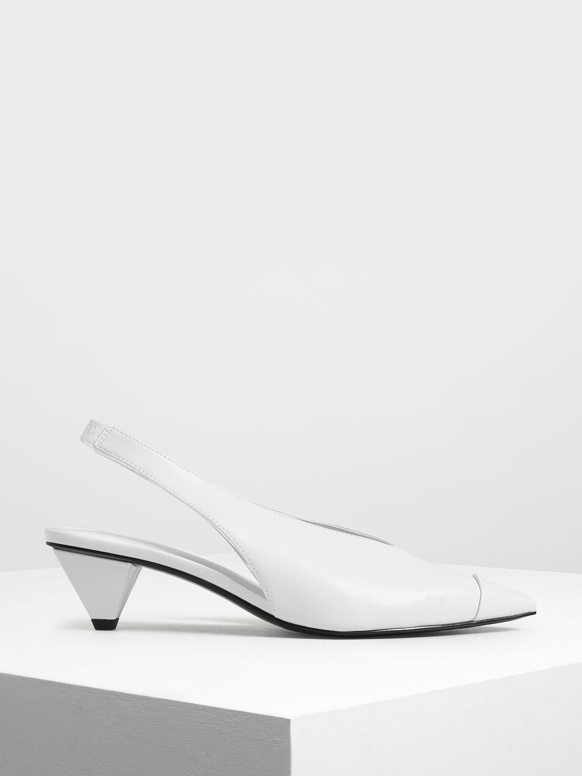 Cone Heel Slingback Pumps, White, hi-res