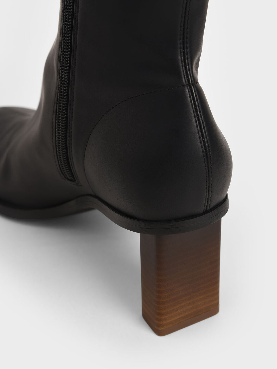 方形粗跟短靴, 黑色, hi-res