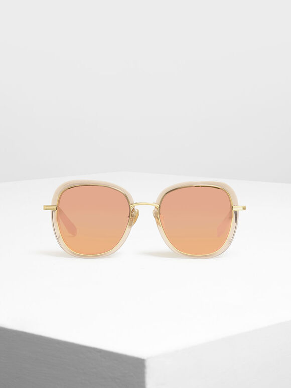 Double Lens Sunglasses, Gold, hi-res