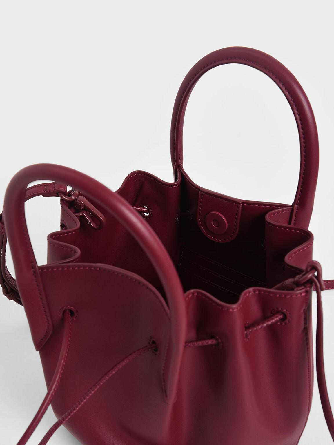 Drawstring Top Handle Bag, Red, hi-res