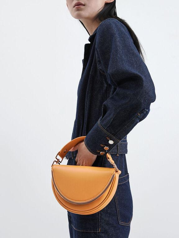 Top Handle Semi-Circle Bag, Mustard
