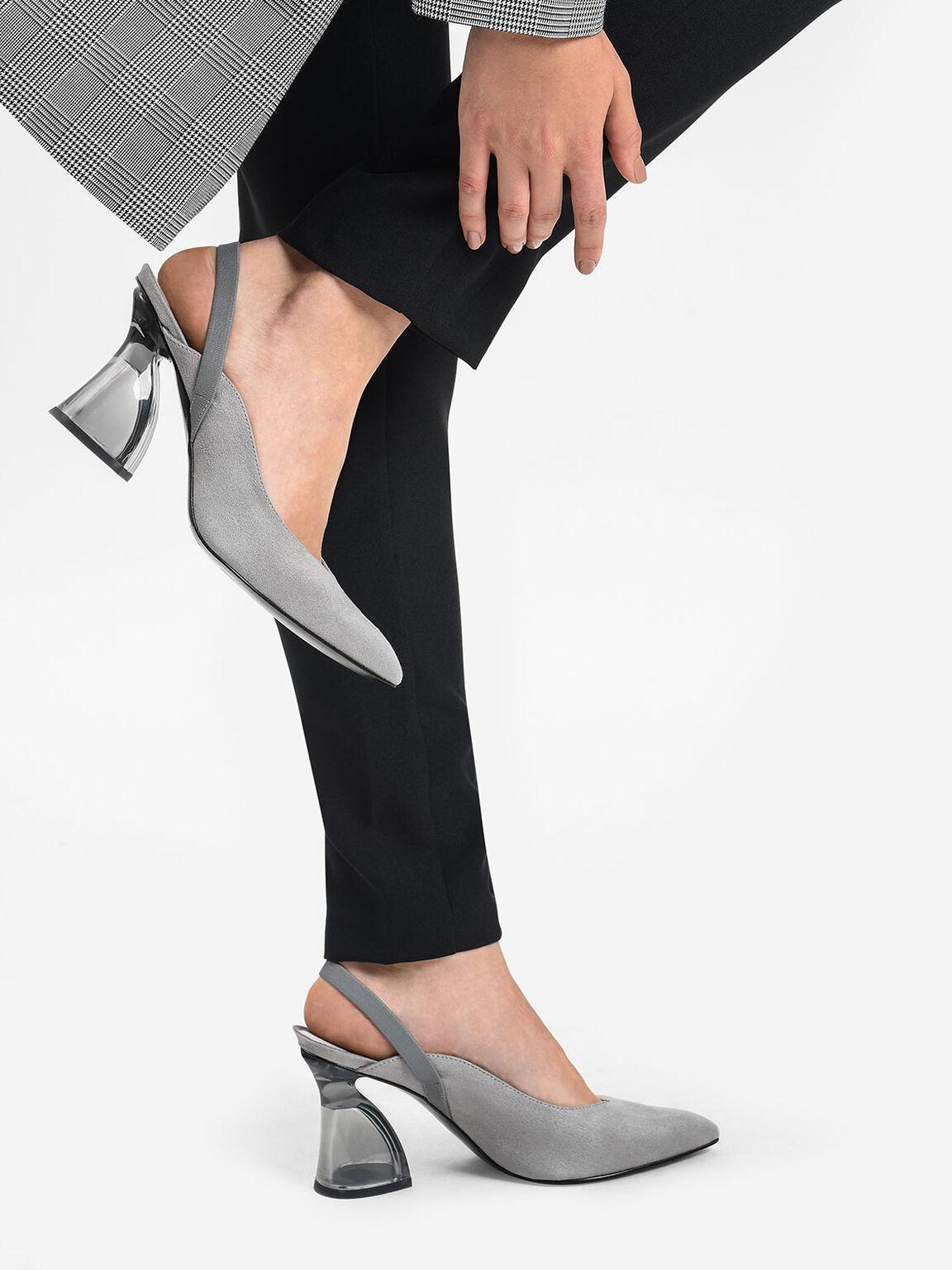 Lucite Sculptural Heel Slingbacks, Grey, hi-res