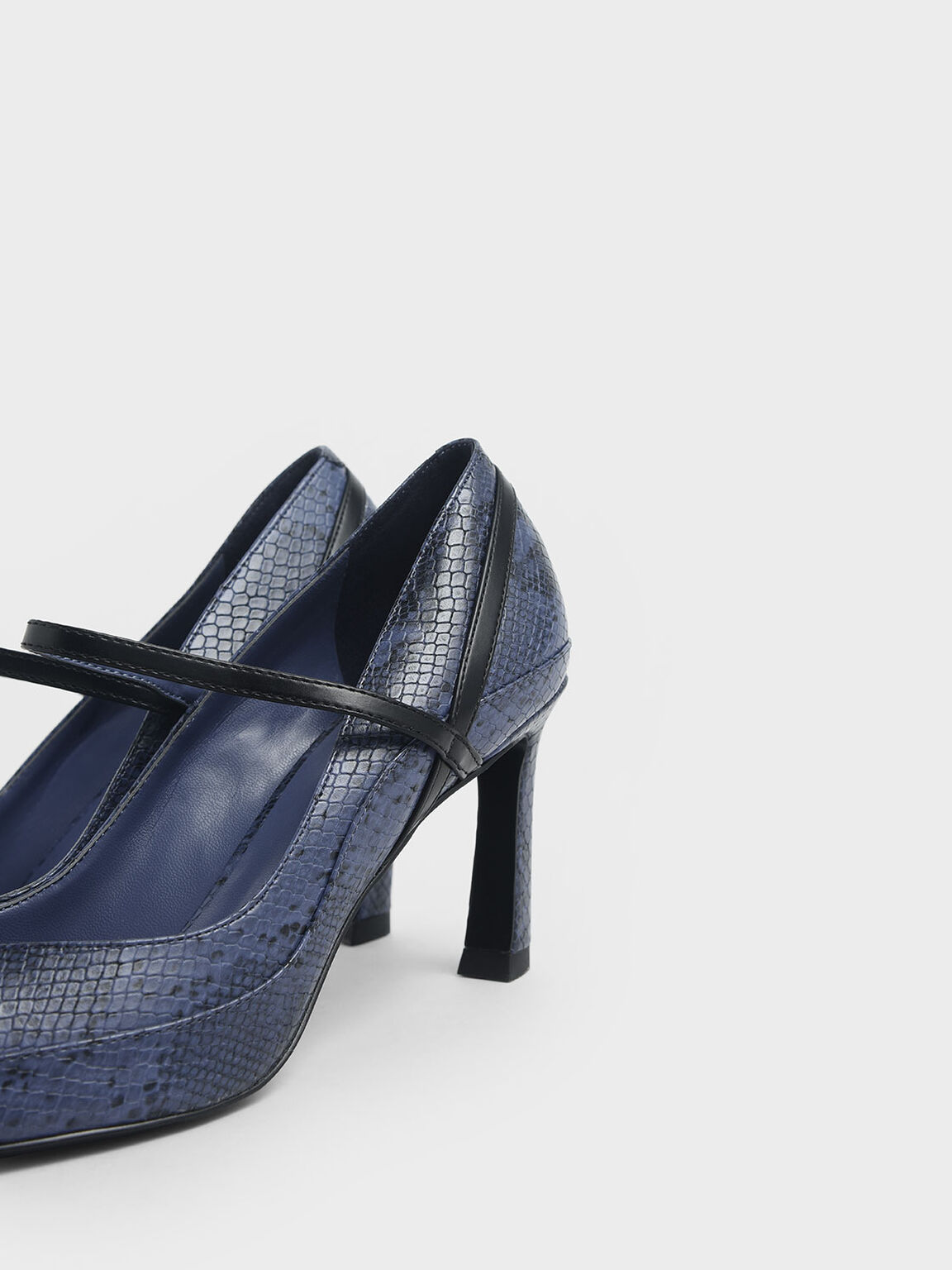 Snake Print Pointed Toe Mary Jane Sculptural Heels, Blue, hi-res