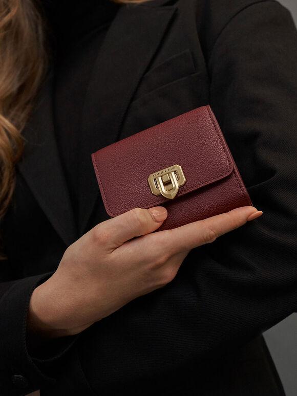 Classic Push-Lock Mini Wallet, Burgundy, hi-res