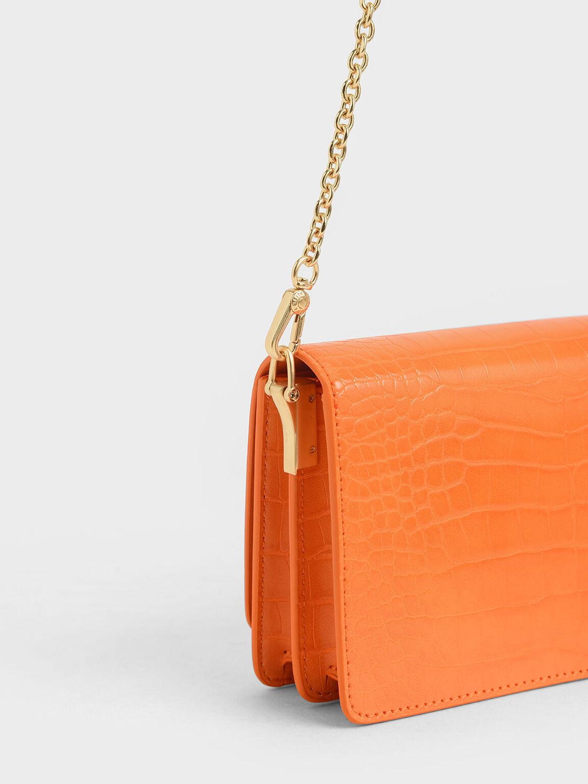 鱷魚紋手拿包, 橘色, hi-res