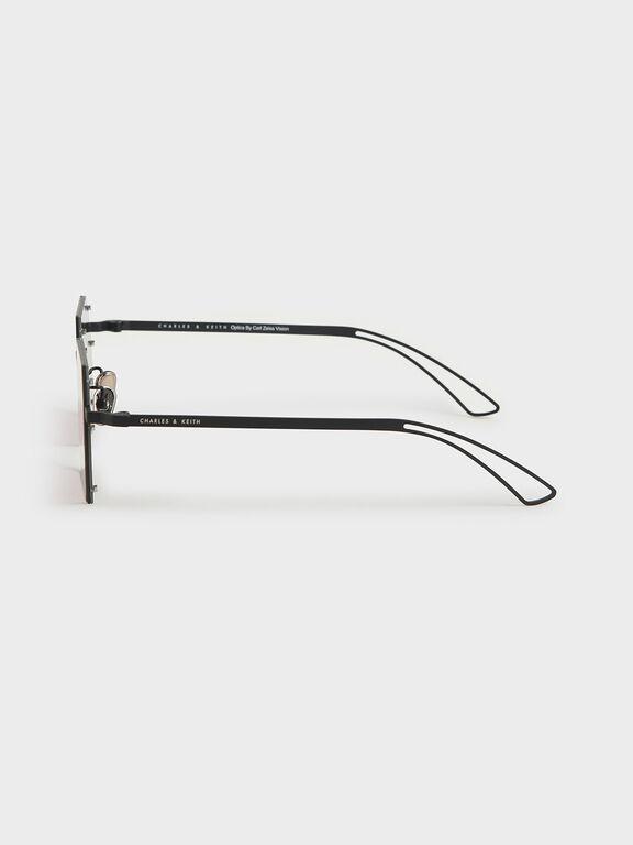 Cut-Off Frame Round Sunglasses, Burgundy